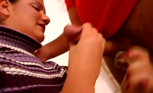 German Bitch In A Sweater Gives Her Man An Amazing Handjob